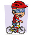 cartoon blonde girl character riding on bicycle vector image vector image