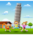 cartoon happy kids in front of pisa tower backgrou vector image