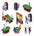 casino isometric poker roulette table slot vector image