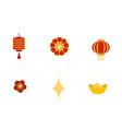 chinese new year symbols icons ingot flowers vector image vector image