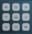 city icons line style set with storefront brick vector image
