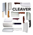 cleaver large meat knife collection set vector image vector image