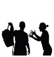 couple black silhouette with furious girl vector image vector image
