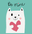 cute white cat holding pink heart on mint vector image