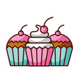 delicious cake and cupcake food dessert bakery vector image vector image