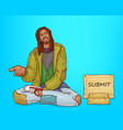 dirty beggar homeless poor african bum vector image
