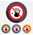 Do not touch Hand print sign icon Stop symbol
