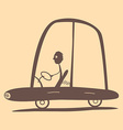 Flat Design Retro Man Driving Car vector image