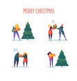 flat happy people with gifts and christmas tree vector image vector image