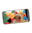 funny reindeer taking a selfie in santas workshop vector image