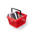 gift decorated with wrapping paper in basket icon vector image vector image