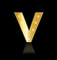 golden letter v shiny symbol vector image vector image