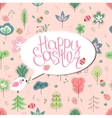 Greeting card with phrase Happy easter and spring vector image