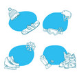hand drawn winter sports equipment stickers vector image vector image