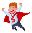 happy superhero businessman fly vector image vector image