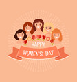 happy womens day with abstract portraits vector image vector image