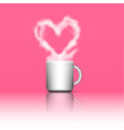 heart shape smoke on coffee cup vector image vector image