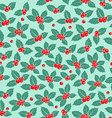 Holly berry flat seamless pattern