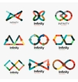 infinity logo set flat colorful icons vector image