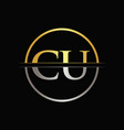 initial gold and silver color cu letter logo vector image vector image