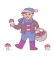 kid boy with mushrooms in vector image