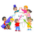 kids holding toothpaste and toothbrush vector image