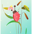 Ladybird on a flower vector image