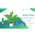 little people working together caring of plants vector image