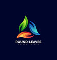 logo round leaves gradient colorful style vector image vector image