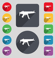 machine gun icon sign A set of 12 colored buttons vector image vector image