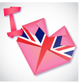 Origami paper I love United Kingdom heart card vector image