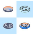 petri dish icon set in flat and line style vector image vector image