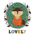 poster cute fox in scandinavian style vector image vector image
