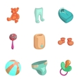 Products for newborns icons set cartoon style