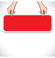 red message board in hand vector image