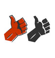 red positive thumb up gesture symbol success vector image