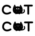 round shape black cat text icon set lettering vector image vector image