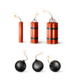 set dynamite bomb with burning wick and black vector image vector image