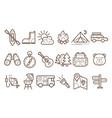 set of linear camp elements traveler vector image