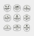 set of vintage wilderness logos hand drawn retro vector image vector image