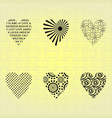 silhouettes of hearts on a wicker background vector image vector image