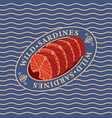 steaks of wild sardines on the waves background vector image