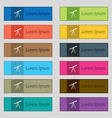 Telescope icon sign Set of twelve rectangular vector image vector image