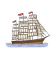 vintage sailboat or ancient ship sketch cartoon vector image vector image