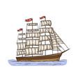 vintage sailboat or ancient ship sketch cartoon vector image