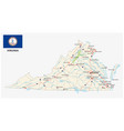 virginia road map with flag vector image vector image