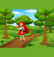 women red hooded at the street forest vector image vector image