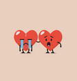 worried heart is soothing crying heart vector image vector image