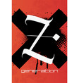 z poster in grunge style vector image