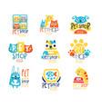 pet shop original label design colorful hand vector image